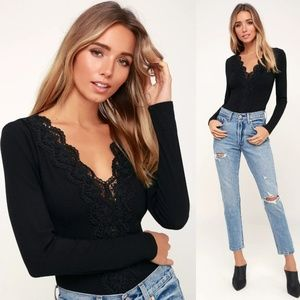 Come Back To You Black Lace Long Sleeve Bodysuit